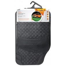Ковры полимерные универсальные в салон автомобиля, цвет - черный, комплект из 4-х ковров (ACM-RM-02)