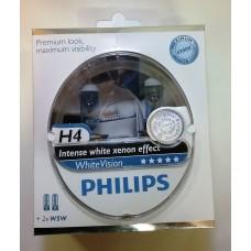Лампа H4 12V  60/55W P43t (PHILIPS) white vision (2шт. + 2шт.W5W б/ц.)