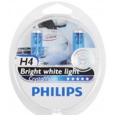 Лампа H4 12V  60/55W P43t (PHILIPS) cristal vision (2шт. + 2шт.W5W б/ц.)